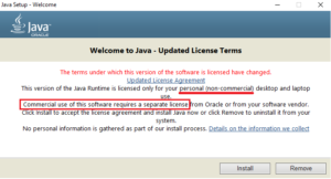 Java licencja komercyjna: okienko aktualizacji