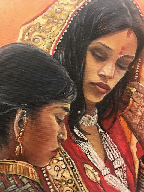 Paintings in times of plague- Two Indian Women by Iwa Kruczkowska-Król